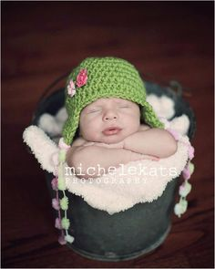 Crochet Baby Hat with Pom Pom Tassels and Crochet Flowers