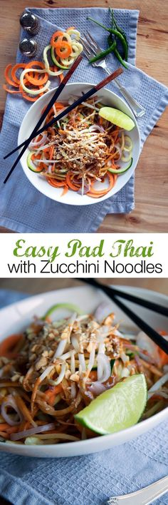 Easy Vegan Pad thai zucchini noodles I love spiralized vegetables as noodles. It is such an easy way to lighten up your meals, get rid of empty carbs, or simply makes your vegetables more interesting! You can add protein to this dish by adding some sautéd tofu, tempeh or even roasted chickpeas- assuming you aren't in a dorm.