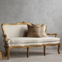 Eloquence One of a Kind Vintage Settee Louis XVI Gold Leaf. too formal, too French and I LOVE IT. :)