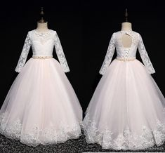 2020 Romantic Lace A Line Flower Girls Dresses For Wedding Party Illusion Long Sleeves Pearls Beaded Princess Cheap First Communion Dress Infant Flower Girl Dresses Infant Pageant Dresses From Stunningdress88, $59.55| DHgate.Com Baby Pageant Dresses, Girls Dresses, Wedding Dresses, Ivory Flower Girl Dresses, Flower Girls, Line Flower, Wedding Girl, Evening Dresses Online, Romantic Lace