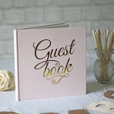 Pink And Gold Foil Wedding Guest Book available from www.theweddingofmydreams.co.uk