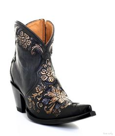 3aeee859a30 BL2950-1 OLD GRINGO ASTER JET BLACK HANDTOOLED ANKLE BOOTS 0 TOE/MILANO HEEL
