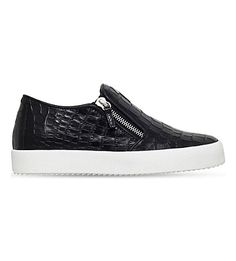 GIUSEPPE ZANOTTI Crocodile-Embossed Leather Skate Shoes. #giuseppezanotti #shoes #trainers