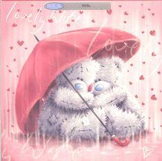 Tatty Teddy Valentine's Day Card - Lovely Wife under umbrella Teddy Pictures, Love Rain, Tatty Teddy, Bear Art, Love Signs, Cute Bears, Friends Forever, Illustration Art, Illustrations