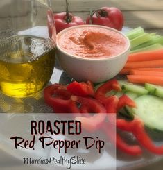 Do you have a signature dish everyone asks you to bring to parties and gatherings? This Roasted Red Pepper Dip is mine. It& easy to make and, best of all, HEALTHY! Vegetarian Recipes Easy, Healthy Recipes For Weight Loss, Healthy Meals For Kids, Healthy Dinner Recipes, Kids Meals, Healthy Snacks, Yummy Recipes, Roasted Red Pepper Dip, Healthy Slice