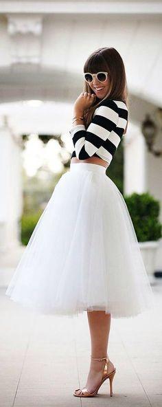 I love this look Skirt tutu and mini striped t-shirt