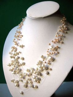 Gorgeous Multistrand White Peach Freshwater Pearl by JewelsbyKitty