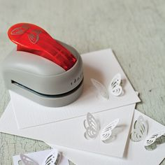 3D Butterfly Punch    This simple little craft tool produces a 3-D butterfly as detailed and beautiful as the real thing. Try it with coloured paper or vintage print and maps. Wonderful for cards, invitations and table dressing.  £12 P-BFLYPUNCH H 7.5 cm W 7 cm L 10 cm Weight 410g