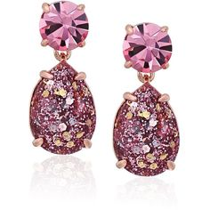 kate spade new york Glitter Double Drop Rose Gold-Tone Earrings ($39) ❤ liked on Polyvore featuring jewelry, earrings, earring jewelry, glitter jewelry, rose gold jewelry, pink gold jewelry and double drop earrings