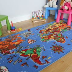 KIDS WORLD MAP Kids Rugs Straight