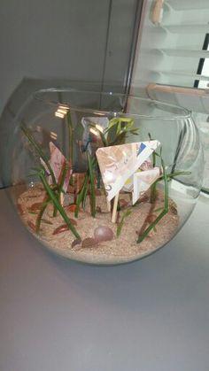 3 vissen van geld en een aquarium. Op de bodem liggen nog kopermunten wat een leuk resultaat geeft.