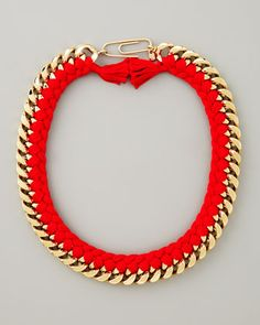 Aurelie Bidermann Braided Chain Necklace, Red - Bergdorf Goodman