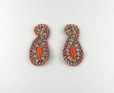 Applique paisley applique orange and by IndianCraftsBazaar Paisley, Crafty Projects, Orange, Embellishments, Craft Supplies, Crochet Earrings, Applique, Stones, Pink