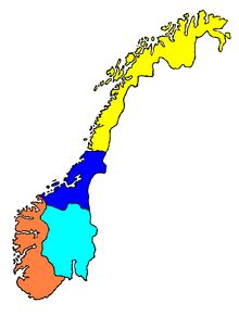 Norwegian language has two official written forms, Bokmål and Nynorsk. Both of them are recognized as official languages, Bokmål is the written language 80–85% of people. Around 95% of the population speaks Norwegian as their native language, although many speak dialects that differ significantly: North Norwegian (yellow), Trøndelag Norwegian (navy blue), West Norwegian (orange) and East Norwegian (pale blue).