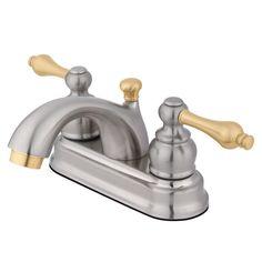 "Kingston Satin Nickel/Polished Brass 4"" Centerset Bathroom Faucet KB2609AL"