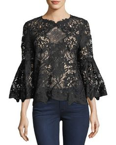 Kobi Halperin Mallory Bold Floral Lace Blouse In Black Black Lace Blouse, Haute Couture Fashion, Blouse Outfit, Lace Tops, Beautiful Outfits, Beautiful Clothes, Custom Clothes, Blouses For Women, Bell Sleeves