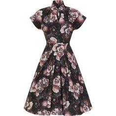 Emma Lou Dark Floral Print Swing Dress | Vintage Inspired Fashion |... (662.235 IDR) ❤ liked on Polyvore featuring dresses, mandarin collar dress, floral day dress, floral fit-and-flare dresses, vintage style floral dress and vintage style dresses