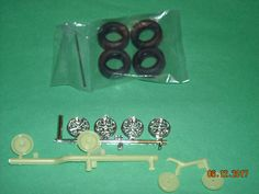 Chrome Mag wheels & tires, brakes, 1968 Ford Shelby Mustang model car parts #AMT