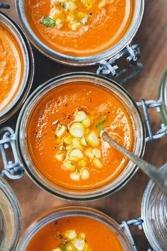 Carrot, Tomato, & Coconut Soup with Corn Ceviche - YUM! Don't skip the corn ceviche - it's really easy and it's a perfect complement to the soup. Raw Food Recipes, Soup Recipes, Vegetarian Recipes, Cooking Recipes, Healthy Recipes, Vegan Vegetarian, Carrot Recipes, Healthy Soup, Paleo Soup