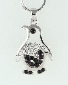 Penguin Emperor Penguin W Swarovski Crystal by Jewelryandvintage  want want want