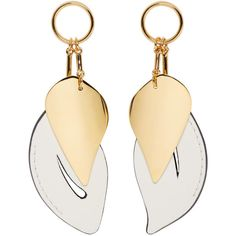 Marni White and Gold Leaf Earrings (4.813.680 IDR) ❤ liked on Polyvore featuring jewelry, earrings, gold leaf jewelry, yellow gold pendant, leaves earrings, white gold pendant and white pendant