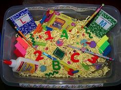 Back To School Sensory Bin and Preschool Lesson Plan