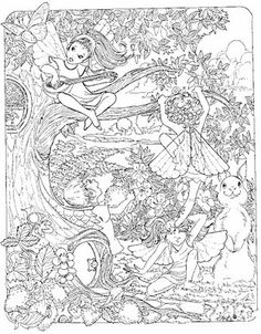 This very detailed coloring sheet of fairies will appeal to older children - it's lovely and complex and will take a while to complete but will look beautiful when done....