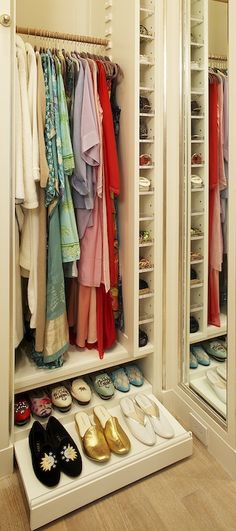 I love the slide out drawer for flats! It takes advantage of the depth of the closet, which otherwise would have been unused