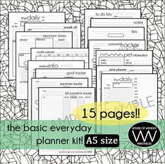 Basic Everyday Planner Set  Half Letter A5 Size by HowPrintables