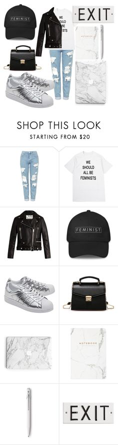"""""""Feminist"""" by elen-kajaia ❤ liked on Polyvore featuring Topshop, Acne Studios, adidas Originals and Caran d'Ache"""