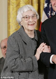 Harper Collins announced on Tuesday that Harper Lee, pictured here in 2007 at the White House, is publishing a book she set aside almost 50 years ago but she is deaf and blind and sings everything  she's asked.
