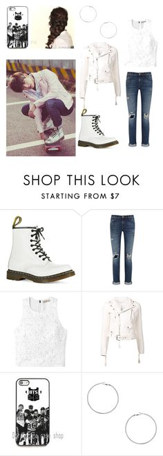 """Kpop inspired outfit."" by sarahj0301 ❤ liked on Polyvore featuring Dr. Martens, J Brand, Rebecca Taylor, Off-White, Disney, Dorothy Perkins, kpop, bts and BangtanBoys"