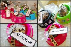 Personalized Tags with #Puppy Chow party favors in dog bowls.