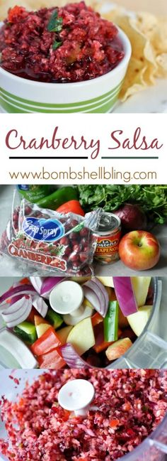 Cranberry Salsa recipe so easy and so UNIQUEGather up your ingredients and a food processor cranberries apple red onion red pepper green pepper cilantro apple juice lemo. Thanksgiving Recipes, Fall Recipes, Holiday Recipes, Thanksgiving Feast, Chutney, Salsa Verde, Salsa Guacamole, Cranberry Salsa, Cranberry Recipes