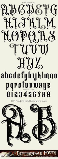 Letterhead Fonts / LHF Pandora font set / Different Fonts