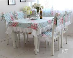 french country shabby chic | French Country Shabby Chic Floral Blue Table Cloth 008
