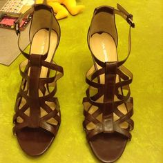 Via Spiga Brown leather Via sandals. Never worn. Original retail $278 new with tags from Norstorms. Paid $109 for these on sale Via Spiga Shoes Sandals