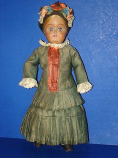 """Early 11"""" Russian Terracotta Head Doll in Elegant Dress"""