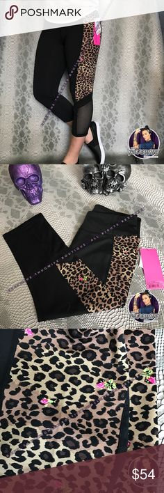 Betsey Johnson | cheetah print rose Capri || NWT ||  Betsey Johnson workout Capri  ||  NEW WITH TAGS  ||  Breathable leggings for the gym ! skull rose mesh Capri legging .     Use the OFFER BUTTON • bundle for 10% off        please no drama ladies lets be nice     • 5 star rating • over 300 sales • smoke free home • 100% authentic • packedtokill •         || www.thethugwife.com ||              N O   TRADES   Betsey Johnson Pants Leggings