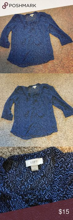 ❤️ LIKE NEW Loft blouse ❤️ This sheer lightweight three-quarter sleeve blouse from loft was worn one time. Blue is not my color. It has a tie front at the neckline and button down front. LOFT Tops Blouses