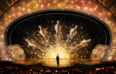 """Everyone dreams in gold"" Oscars 2016: Derek McLane's Academy Award Stage Design was fabulous again this year. Spoken in art."