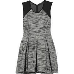Markus Lupfer Pleated tweed dress ($230) ❤ liked on Polyvore featuring dresses, vestidos, vestiti, grey, women, sheer dress, markus lupfer dress, markus lupfer, transparent dress and grey pleated dress