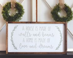 A house is made of walls and beams quote wood sign - framed wood sign - farmhouse style sign - rustic wood sign - home decor - wood decor