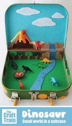 Dinosaur small world in a suitcase handmade DIY toy for kids. This is fun for play on the go and makes a great alternative to screens. A creative way to inspire imaginary play for dinosaur-loving kids toys Dinosaur small world in a suitcase Dinosaur Small World, Make A Dinosaur, Small World Play, Dinosaur Toys For Boys, Dinosaur Crafts Kids, Dinosaur Gifts, Kids Crafts, Newborn Toys, Toys For Girls