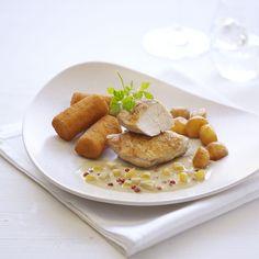 Filet de faisan à la sauce douce au poivre rose, billes de pomme au sirop d'erable