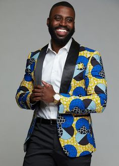 African Clothing for Men Jackets - Rammy Men's African Print Blazer (Blue Bubbles On Yellow) African Shirts For Men, African Dresses Men, African Attire, African Wear, African Outfits For Men, African Clothes, African Inspired Fashion, African Print Fashion, Africa Fashion