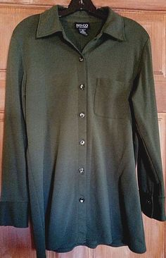 Women's Vintage 90s Long Grunge Button Front Shirt Dark Green NY & Co Size S #NewYorkCompany #ButtonDownShirt #Casual