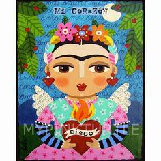 Diego Rivera Painting - Frida Kahlo Angel And Flaming Heart by LuLu Mypinkturtle Diego Rivera, Frida E Diego, Frida Art, Natalie Clifford Barney, Heart Poster, Heart Painting, Diy Painting, Arte Popular, Pillow Sale