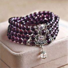 Purple Crystal Beads Yoga Bracelet