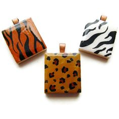 Animal Print Necklace Hand Painted Scrabble Tile in by heversonart,  #jewelry #art #animalprint #tiger #zebra #leopard #orange #brown #balckandwhite #scrabbletile #pendant #chic #fashion